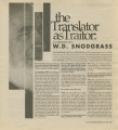 The Translator as Traitor: An Interview With W. D. Snodgrass