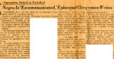 Segregation Socked in Periodical: Negro Is 'Excommunicated', Episcopal Clergyman Writes