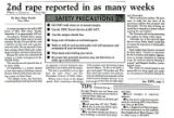 2nd rape reported in as many weeks