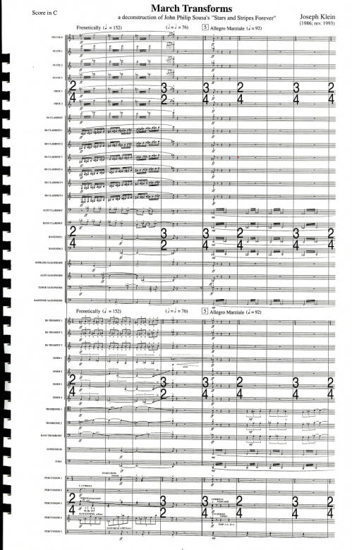"""March Transforms: (A Deconstruction of John Philip Sousa's """"Stars and Stripes Forever""""): For Wind Ensemble"""