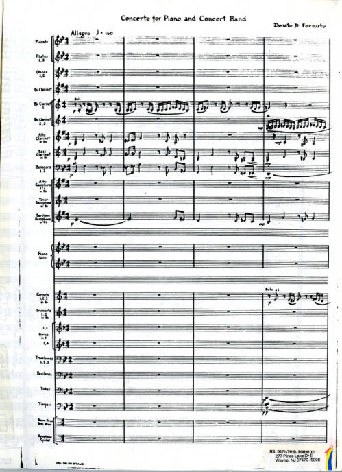 Concerto: For Piano and Concert Band