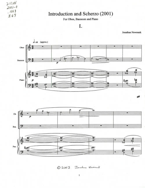 Introduction and Scherzo: For Oboe, Bassoon, and Piano